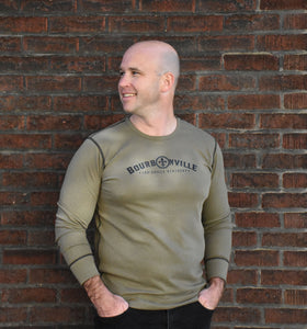 Long Sleeve Thermal Shirt Unisex - Olive with Arch Logo