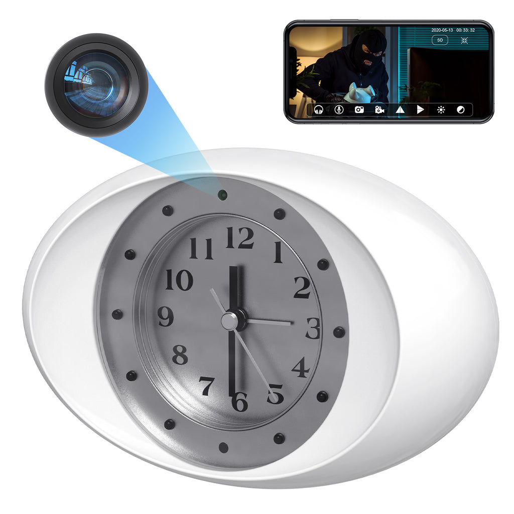 Spy Cam WiFi Wireless Clock Hidden Camera