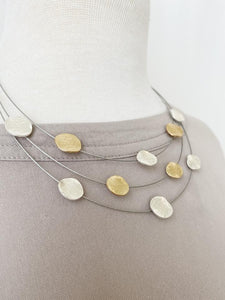 Matte Silver & Gold Textured Dots on Wire Necklace