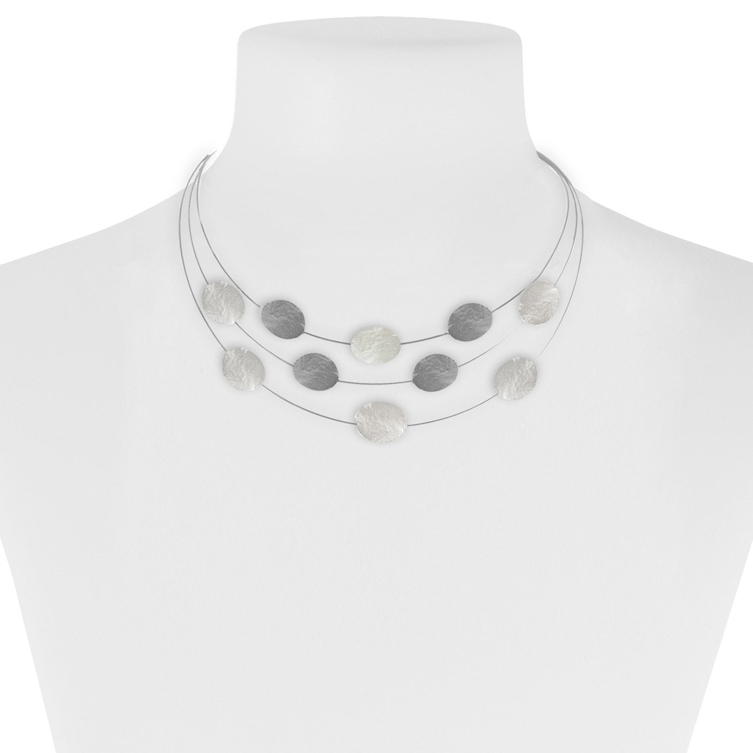 Matte Silver & Hematite Textured Dots on Wire Necklace