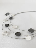 Load image into Gallery viewer, Matte Silver & Hematite Textured Dots on Wire Necklace