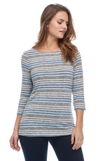 Load image into Gallery viewer, Heather Yarn Stripe Boatneck Top in Indigo Multi