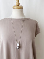 Load image into Gallery viewer, Brushed Silver & Pearl Long Adjustable Necklace