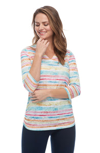 Painted Stripe Notch Crew Neck Top