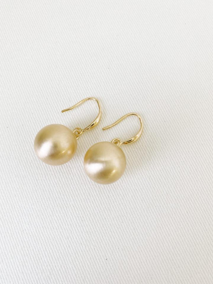 Brushed Gold Sphere Earring