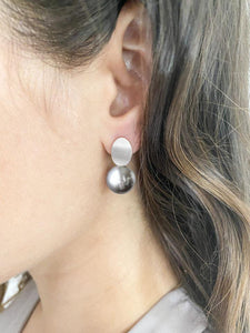Brushed Silver & Pearl Drop Earring