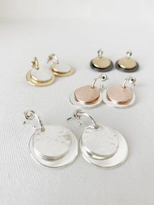 Textured Silver Coin Earring
