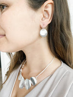 Load image into Gallery viewer, Textured Silver Coin Earring