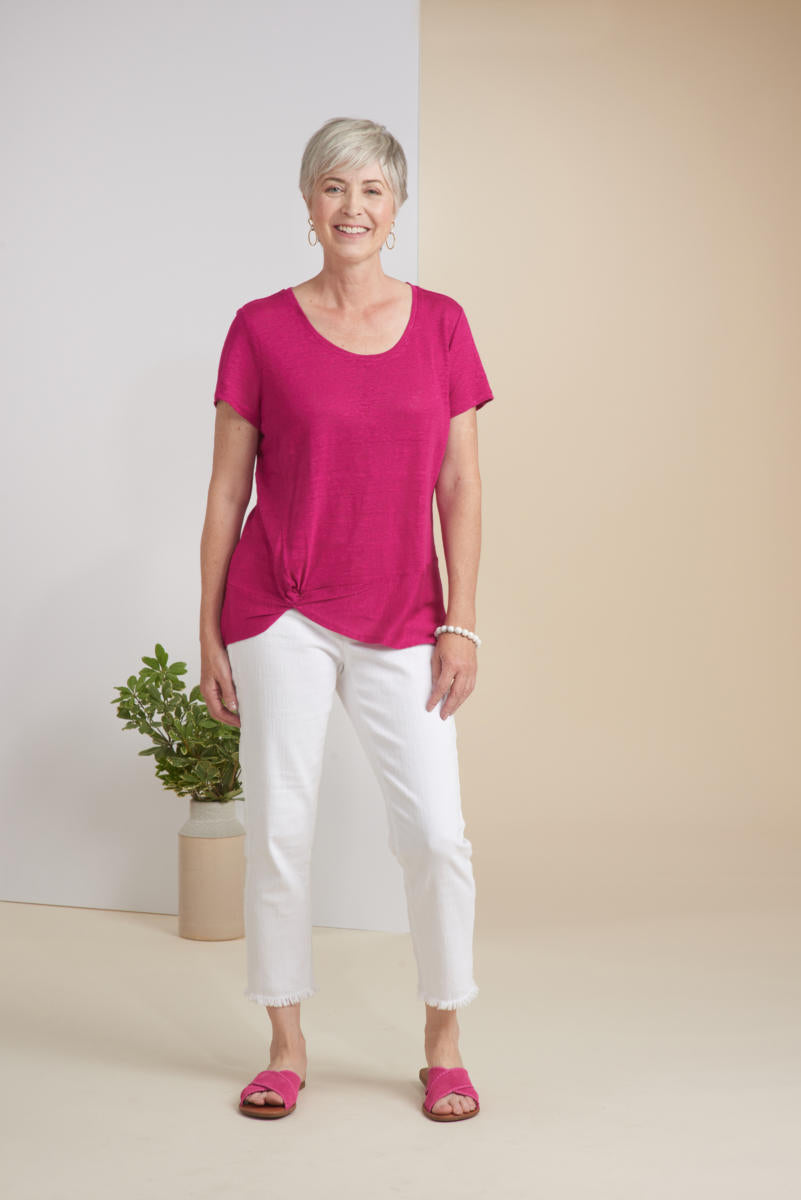 Linen Knit Twist Hem Top
