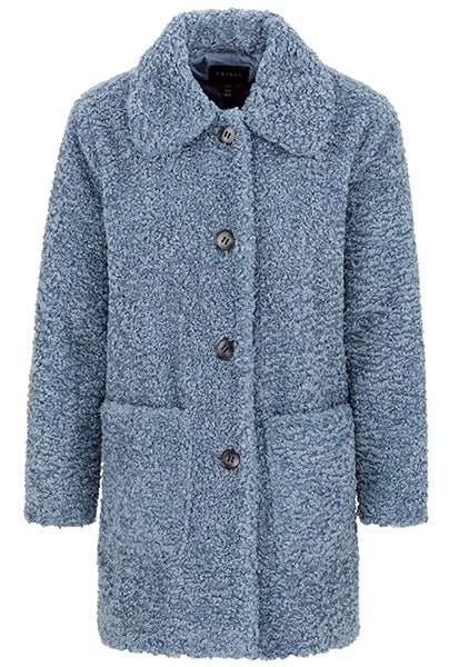 Live a life of carefree comfort in this soft teddy plush overcoat. Its foldover collar is large and bold, and a pair of deep lined open pockets offer a simple combination of style and convenience.