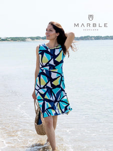 Stained Glass Turquoise Print Dress
