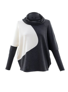 MARBLE Drop Shoulder Color Block Cowl Sweater