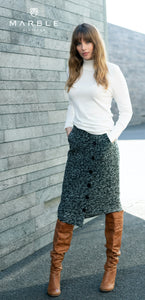 Skirt with Asymmetrical Button Detail