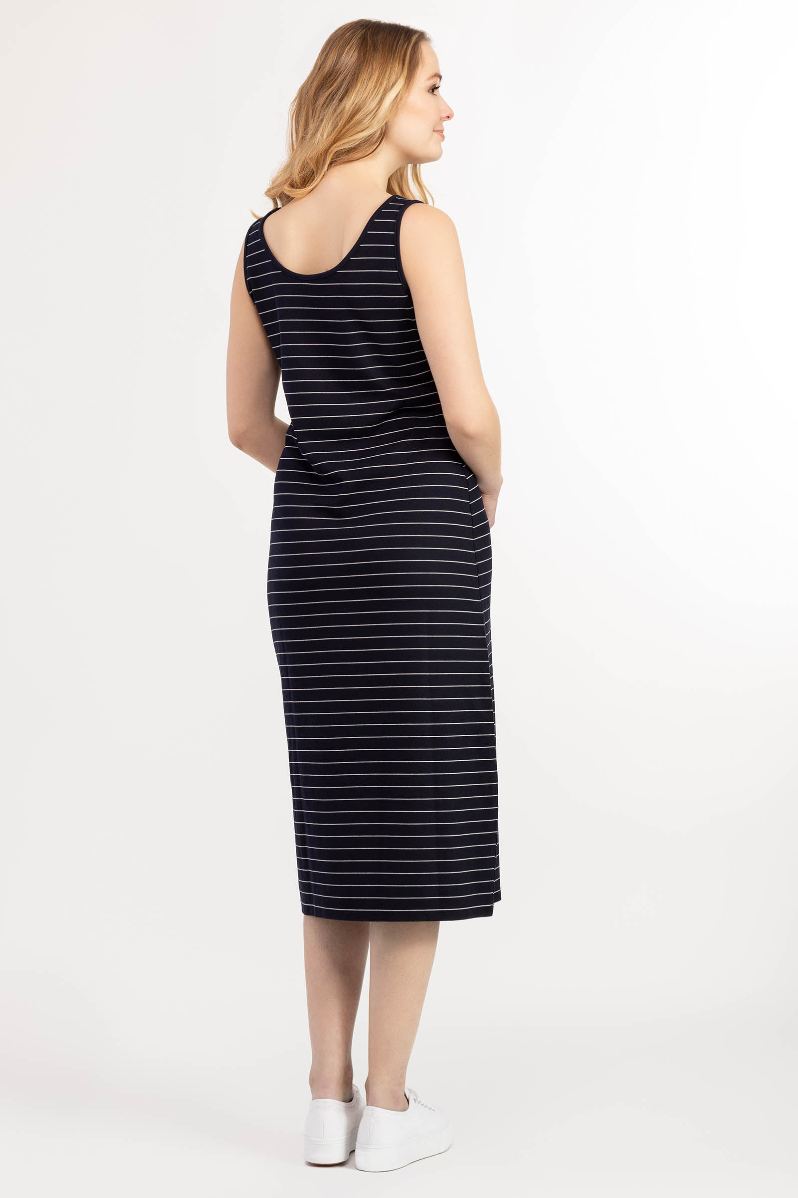 Striped Tank Dress with Side Buttons