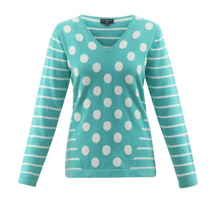 Dot Stripe Combo Sweater