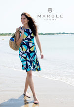 Load image into Gallery viewer, Stained Glass Turquoise Print Dress