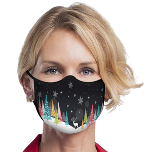Bright Trees on Black Reusable Fabric Face Mask