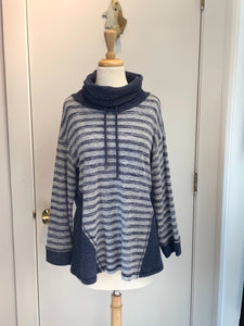 SOFTWORKS Cozy Fleece Striped Cowl with Drawstring Top