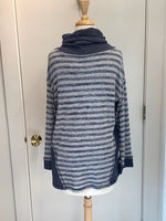 Load image into Gallery viewer, SOFTWORKS Cozy Fleece Striped Cowl with Drawstring Top