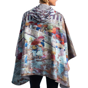 Fine Art Reversible Travel Cape in Prendergast Umbrellas in the Rain