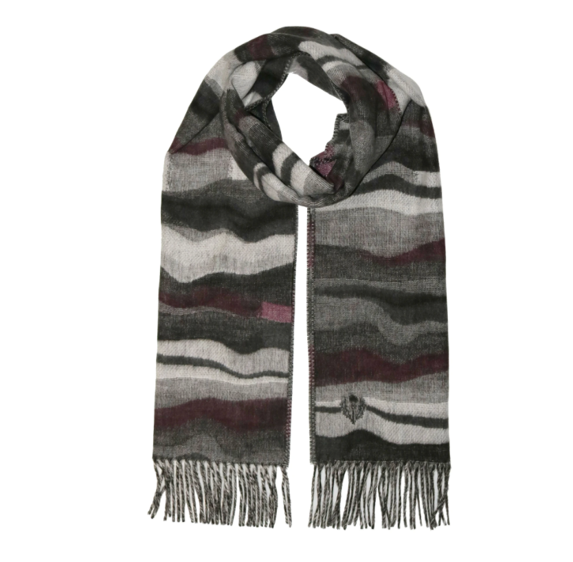 Graphic Waves Woven Cashmink Scarf