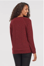 Load image into Gallery viewer, TRIBAL Raglan Sleeve Top with Flocked Print