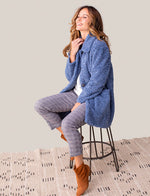 Load image into Gallery viewer, Live a life of carefree comfort in this soft teddy plush overcoat. Its foldover collar is large and bold, and a pair of deep lined open pockets offer a simple combination of style and convenience.Live a life of carefree comfort in this soft teddy plush overcoat. Its foldover collar is large and bold, and a pair of deep lined open pockets offer a simple combination of style and convenience.