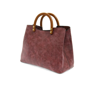 Angie Vintage Satchel with Wood Handle in Cabernet