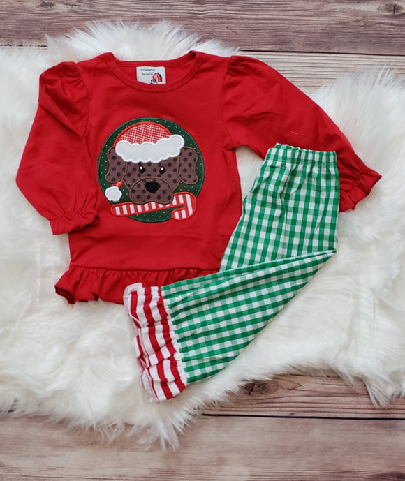Dog with Candy Cane Girl Set