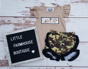 RTS Military Dog Applique Girl Set