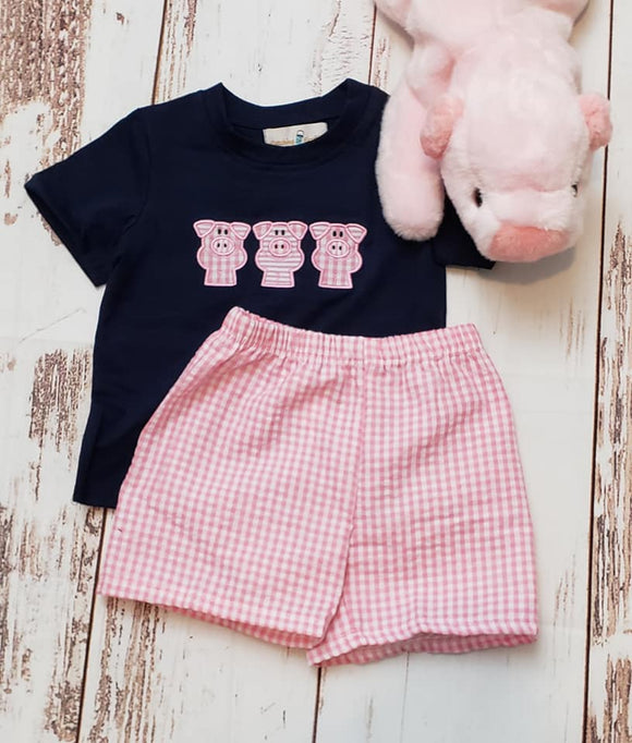 3 Pig Applique Boy Set