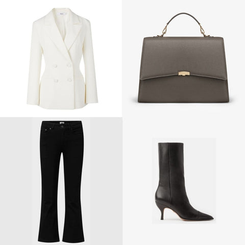 White, grey and black business outfit for women with laptop bag