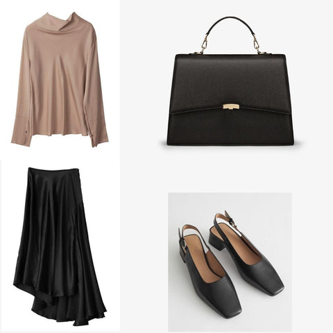 Black and beige business outfit for women with business bag