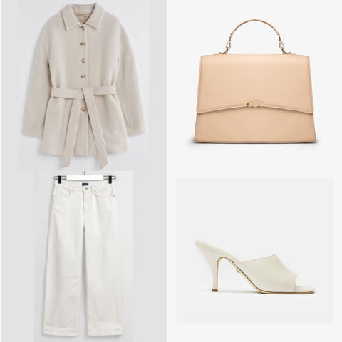 Light beige cream outfit for women in business with a work bag