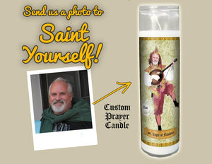 JESTER SAINT OF FLATULENCE Custom Prayer Saint Candle - Funny Birthday Gift - Fart Candle - Fool Prayer Candle - Flatulent - Farting