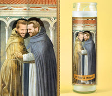 Load image into Gallery viewer, TWO FRIENDLY Saints - Customized Prayer Candle - Funny Prayer Candle - Gay Couple Wedding Gift - LGBT Gift - Gift for Brother - Trending Now