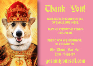 THE KING - Customized Pet Prayer Candle - Personalized Devotional Candle - Funny Saint Candle - Corgi Candle - Saint Your Dog - Pet Bird