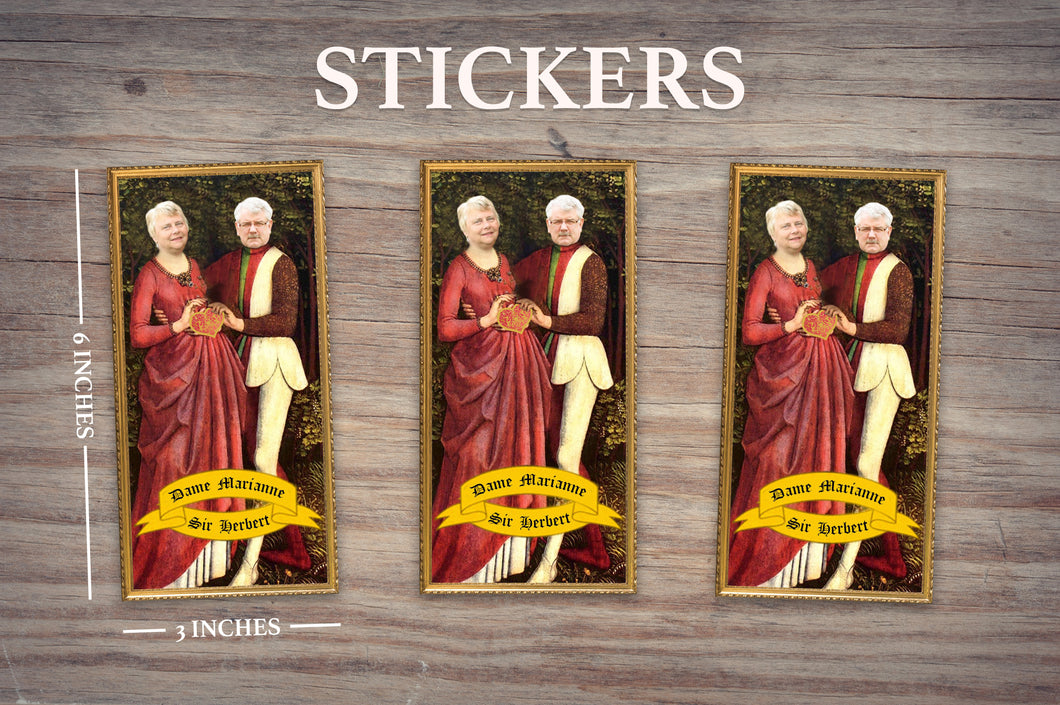 RENAISSANCE LOVERS - Personalized Sticker - Pack of 3 Identical Stickers - JUST THE STICKER - Funny Valentine Gift - Valentines Day Couples Gift - Husband Wife Gift Gifts for Him and Her