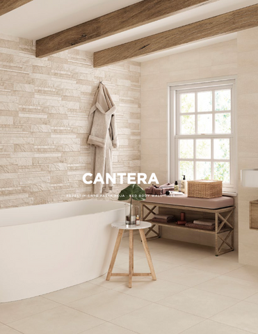 Cantera Sand 20x60 Halcon bathroom wall tiles