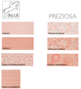 Bathroom wall tiles Preziosa Corallo and Topazio 20x50 in various decorations and 33x33 coordinated flooring by Ascot Ceramiche