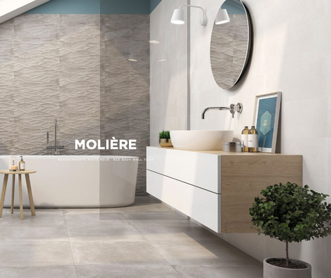 Moliere Bone e Smoke 20x60 Halcon bathroom wall tiles