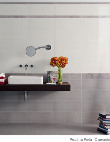 Preziosa Diamante and Perla bathroom wall tiles 20x50 in various decorations and Ascot Ceramiche coordinated flooring