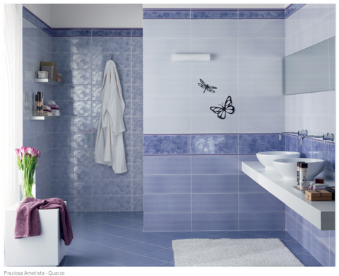 Bathroom wall tiles Preziosa Quarzo end Ametista 20x50 in various decorations and 33x33 coordinated flooring by Ascot Ceramiche