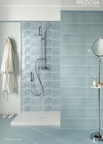 Preziosa Zaffiro and Turchese bathroom wall tiles 20x50 in various decorations and Ascot Ceramiche coordinated flooring