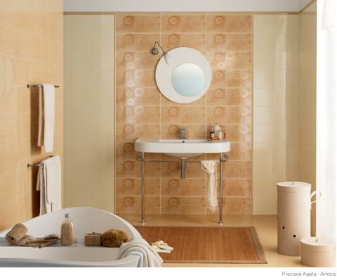 Bathroom wall tiles Preziosa Ambra and Agata 20x50 in various decorations and coordinated floor 33x33 Ascot Ceramiche