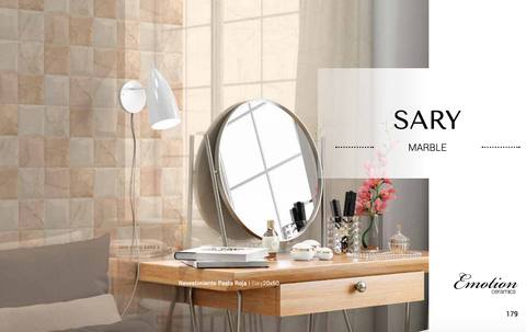 Sary Marfil e Beige Sand 20x60 Emotion bathroom wall tiles