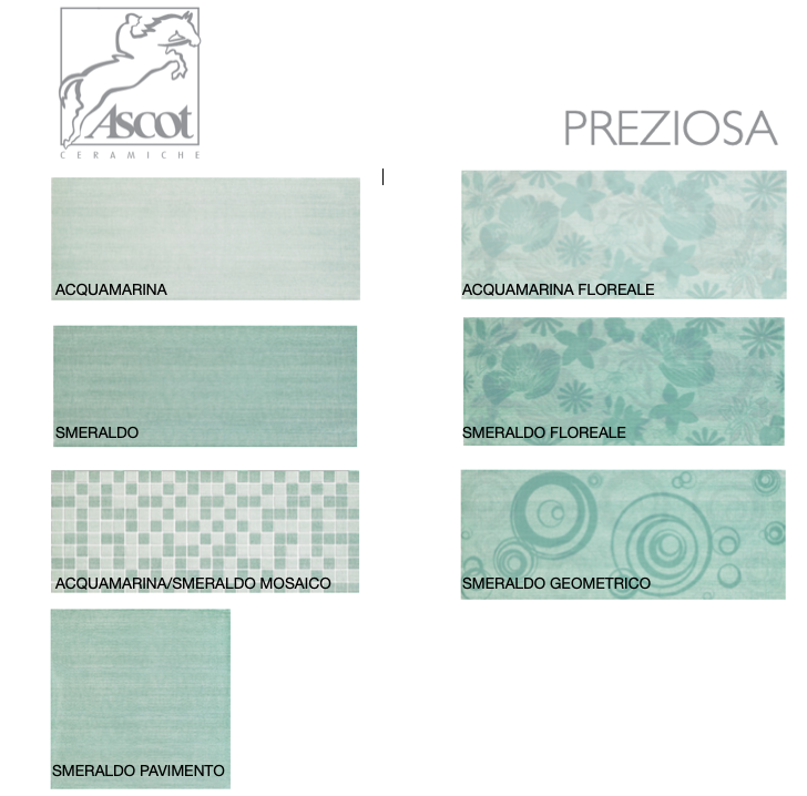 Preziosa Smeraldo and Acquamarina bathroom wall tiles 20x50 with various decorations and Ascot Ceramiche coordinated flooring