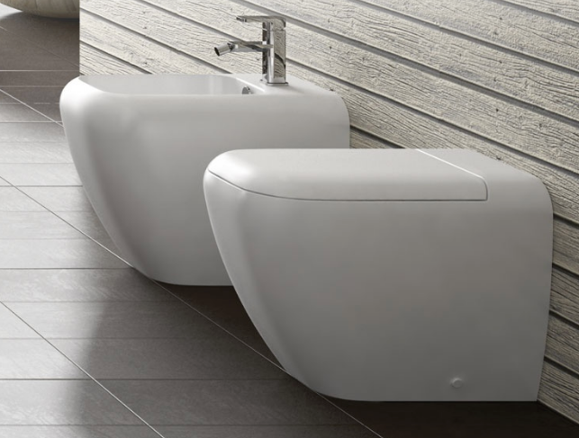 Back to wall sanitary WC Bidet softclose seat Cielo Shui TERRE DI CIELO ARENARIA finish