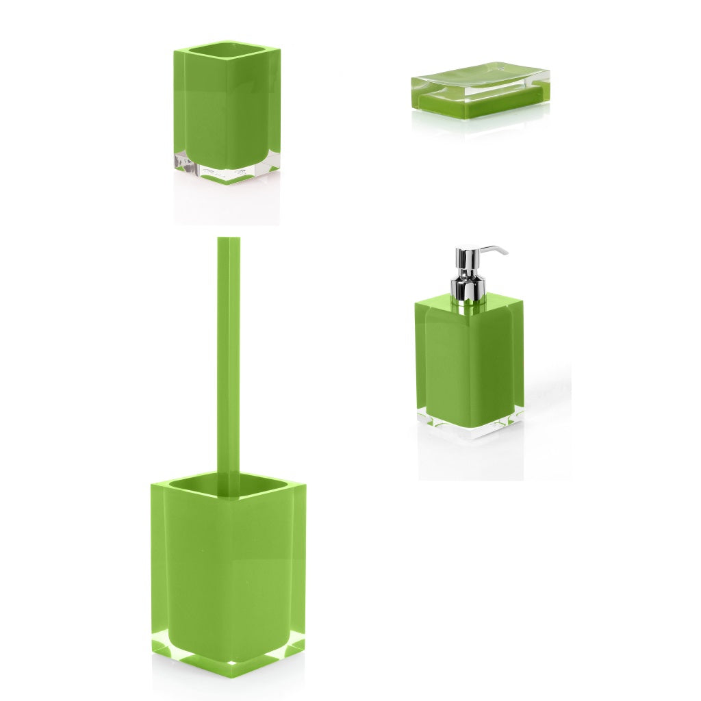 Clear Green Bathroom Accessories Set Gedy Rainbow