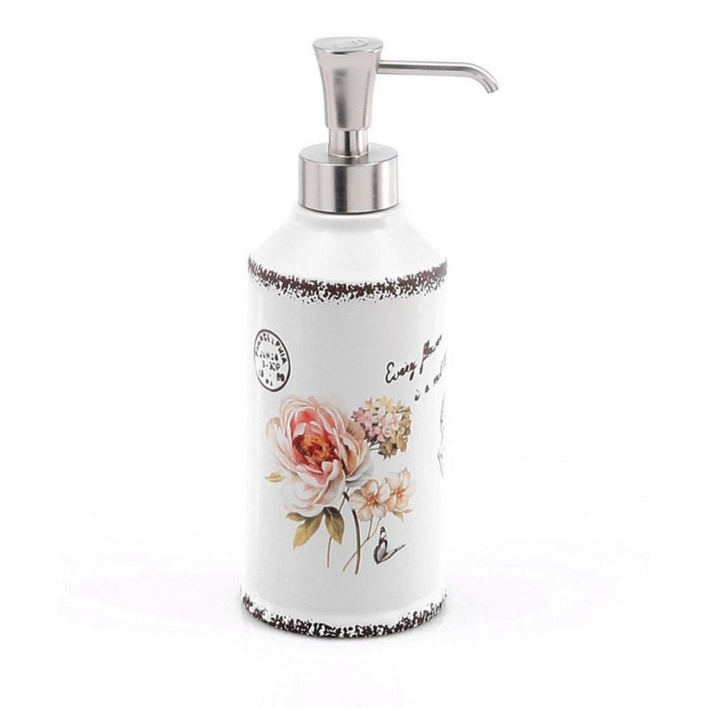 White Pink Ceramic Soap Dispenser Holder Gedy Clothilde